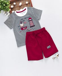 ToffyHouse Half Sleeves Striped T-Shirt & Shorts Sailor Embroidery - Navy & Red