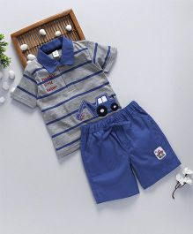 ToffyHouse Half Sleeves T-Shirt With Shorts Vehicle Patch - Royal Blue Grey