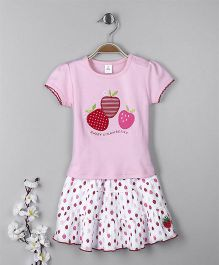 ToffyHouse Short Sleeves Top And Skirt Strawberry Patch - Pink White