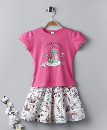 ToffyHouse Short Sleeves Top And Skirt Set Sweets Print - Pink White
