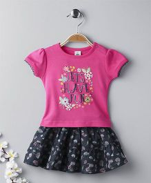 ToffyHouse Short Sleeves Top And Skirt Set Floral And Text Print - Pink Navy Blue