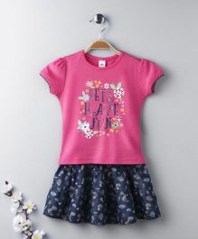 ToffyHouse Short Sleeves Top And Skirt Floral And Text Print - Pink Navy Blue