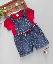 ToffyHouse Denim Dungaree With Top Bow Print - Navy Blue