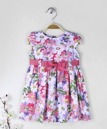 ToffyHouse Short Sleeves Frock With Waist Belt Floral Print - Pink