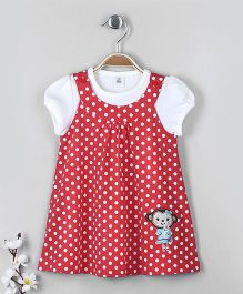 ToffyHouse Frock With Inner Top Polka Dot Print - Red & White