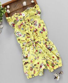 ToffyHouse Short Sleeves Jumpsuit Cake & Bow Print - Yellow