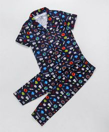 Smarty Half Sleeves Collar Neck Night Suit Allover Print - Dark Navy