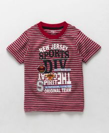 Smarty Half Sleeves Striped T-Shirt Text Print - Red