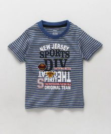 Smarty Half Sleeves Striped T-Shirt Text Print - Blue