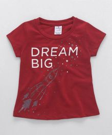 Smarty Half Sleeves Tee Dream Big Print - Red