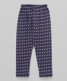 Smarty Full Length Leggings Flower Print - Navy