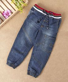 Babyhug Jogger Jeans With Drawstring - Blue