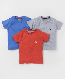 Babyhug Half Sleeves T-Shirts Pack of 3 - Blue Grey Red