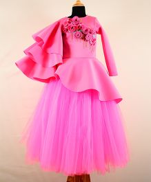 Tu Ti Tu Peplum Corset With Tripple Layered Sleeves & Tutu Skirt - Soft Pink