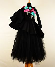 Tu Ti Tu Peplum Corset With Tripple Layered Sleeves & Tutu Skirt - Black