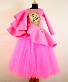 Tu Ti Tu Mirror Hand Embroidered Peplum Corset With Tripple Layered Sleeves & Tutu Skirt - Soft Pink