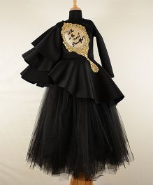 Tu Ti Tu Mirror Hand Embroidered Peplum Corset With Tripple Layered Sleeves & Tutu Skirt - Black