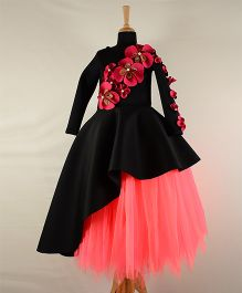 Tu Ti Tu Floral Applique Peplum High Low Corset With Tutu Skirt - Black & Neon Pink