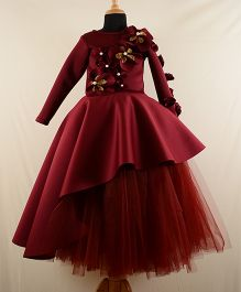 Tu Ti Tu Floral Applique Peplum High Low Corset With Tutu Skirt - Maroon