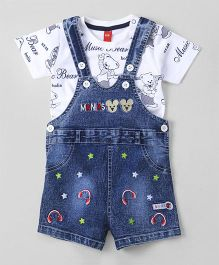 Wow Clothes Denim Dungaree With Half Sleeves Tee Printed - Blue & White