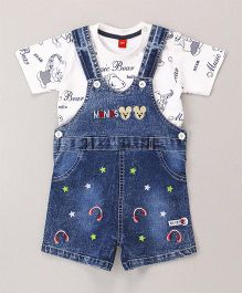 Wow Clothes Dungaree With T-Shirt Bear Print - Blue White