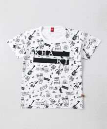 Wow Clothes Half Sleeves T-Shirt Printed - White
