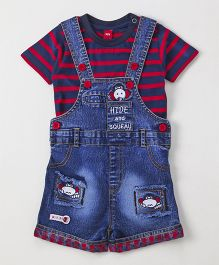 Wow Clothes Denim Dungaree With Half Sleeves Striped Tee - Blue & Red