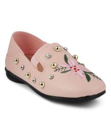 Kittens Beaded Floral Embroidered Loafers - Pink