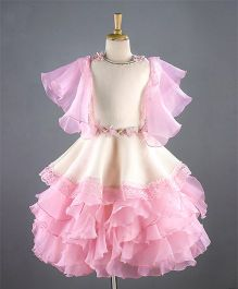 Enfance Frilly Lace Work Dress - Pink