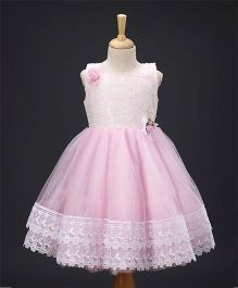 Enfance Flower Applique Party Wear Dress - Pink