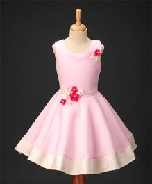 Enfance Sleeveless Flower Applique Dress - Pink