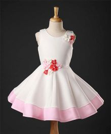 Enfance Sleeveless Flower Applique Dress - White