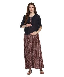 Mine4Nine Layered Floral Printed Maternity Dress - Black