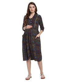 Mine4Nine Aztec Maternity Fit and Flare Dress - Multicolor