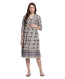 Mine4Nine Floral Bordered Maternity Fit and Flare Dress - White