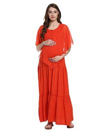 Mine4Nine Ruffled Layered Maternity Maxi Dress - Orange