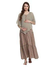 Mine4Nine Ruffled Layered Maternity Maxi Dress - Olive