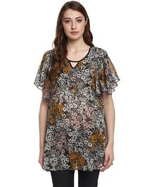 Mine4Nine A-Line Floral Printed Maternity Top - Black