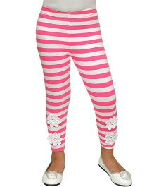 D'chica Patchwork Chic Striped Leggings  - Pink & White