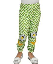 D'chica Patchwork and Print Leggings  - Green