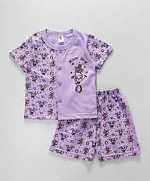 Cucumber Half Sleeves Vest & Shorts Set Magic Show Print - Purple