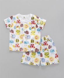 Cucumber Short Sleeves T-Shirt And Shorts Allover Print - White & Yellow
