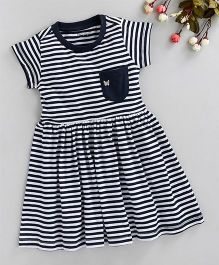 Babyoye Short Sleeves Striped Frock With Butterfly Embroidered Pocket - Navy
