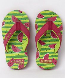 Cute Walk by Babyhug Flip Flops Watermelon Print - Green Red
