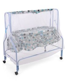 Mee Mee Cradle With Mosquito Net Polka Dots Print - Blue