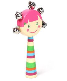 Alpaks Girl Shaped Gungroo Rattle Toy - Pink