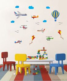 Orka Digital Printed Air Transport Theme Wall Sticker - Multi Colour