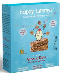Happy Tummys Almond Date Nutritional Snacks Bar Pack of 5 - 125 gm