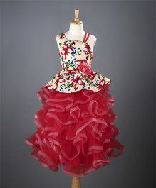 M'PRINCESS Floral Party Wear Gown - Red