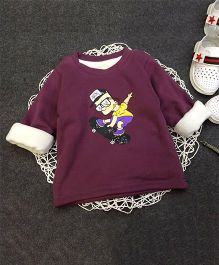Aww Hunnie Skating Boy Print Warm Tee - Purple